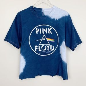 Tops - Pink Floyd Tie Dye Graphic Band Tee Blue